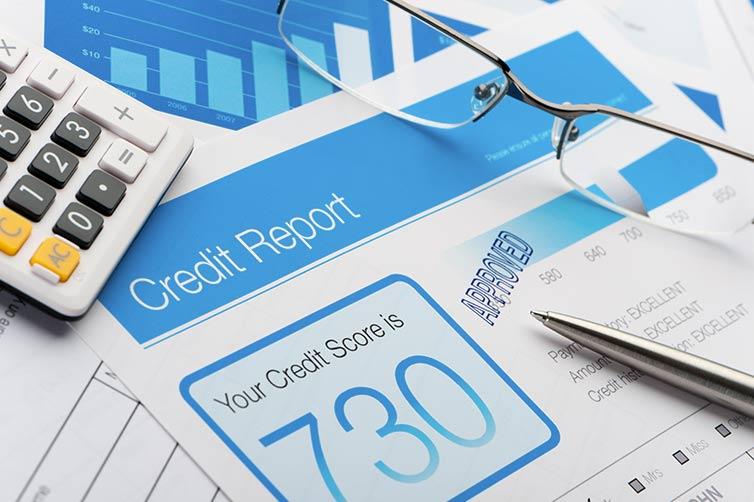 closeup of credit report