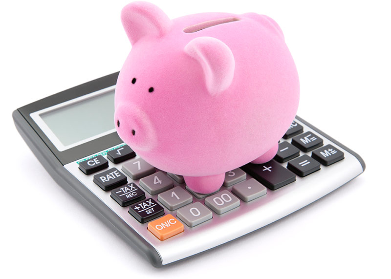 savings calculator with piggy bank on top