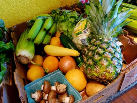 fruits and veggies in a box