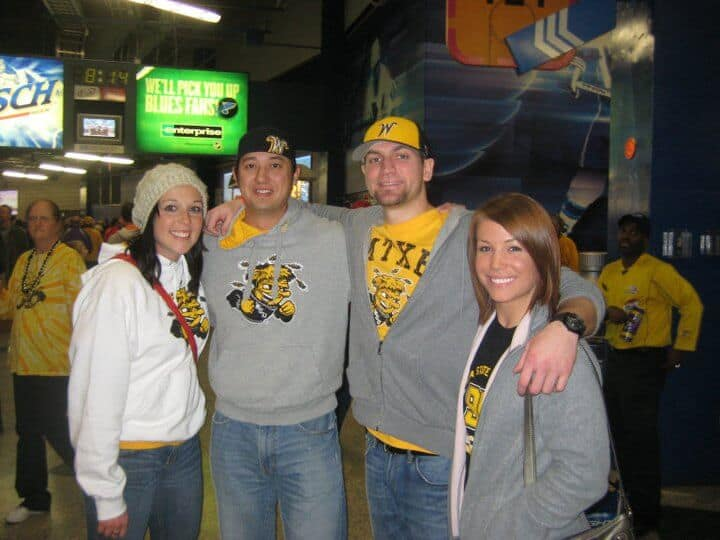group of friends attending a wsu game
