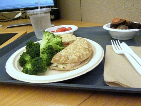 lunch at work desk