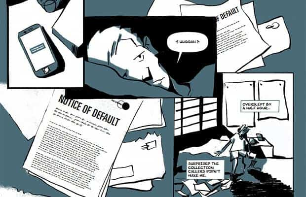 A page from Christopher Kosek's free graphic novel about debt, The Default Trigger.