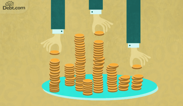 3 arms in business suits taking money from multiple stacks of coins (illustrated)