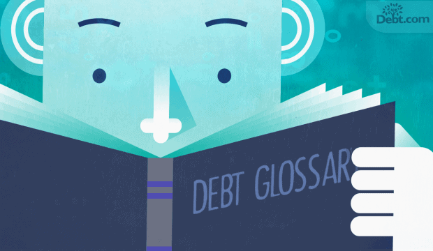 person reading Glossary of terms related to debt and credit