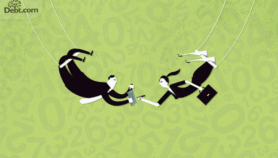 2 people on a trapeze signing a contract (illustrated)