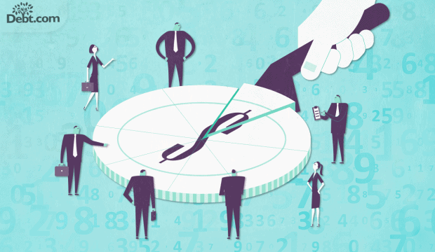 many business people surrounding a giant coin cut into slices with a wedge being removed (illustrated)