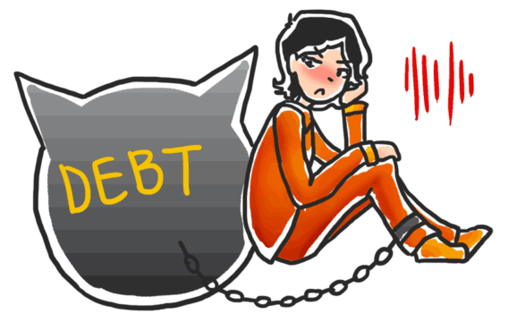 """girl with """"debt"""" ball and chain (illustrated)"""