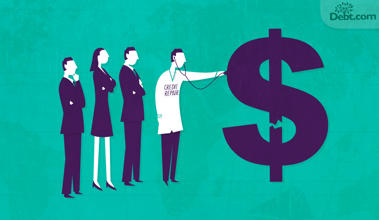 Doctor checking broken dollar sign with 3 business people watching (illustrated)
