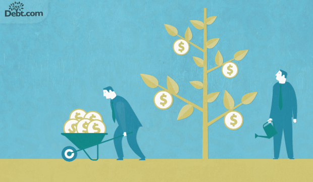 man watering a money tree and another taking money from tree in a wheelbarrow (illustrated)