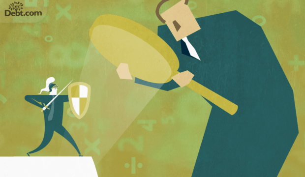 tiny business knight under magnifying glass held by giant (illustrated)