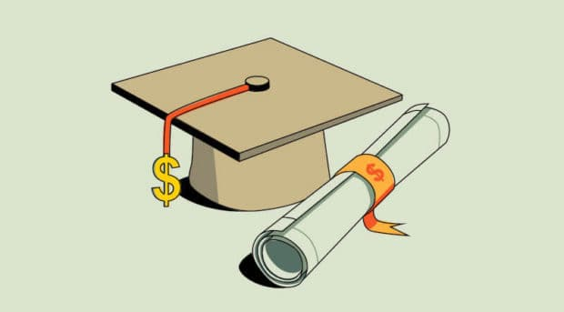 A college graduation cap and dollar sign tassel with a degree wrapped in a price tag (illustrated)