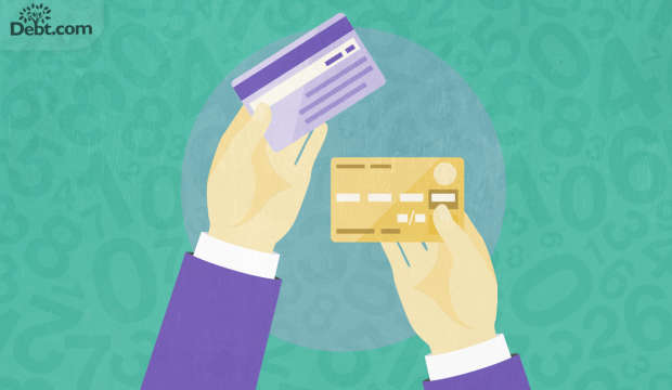 POV a person holding two credit cards in consideration (illustrated)