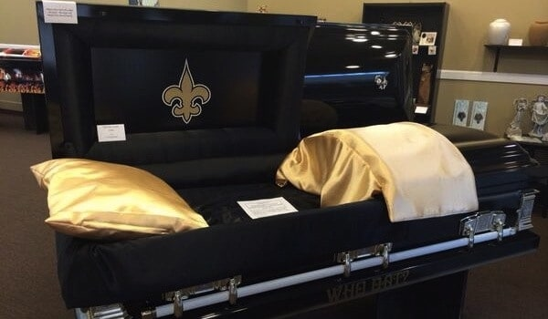 NFL Saints casket