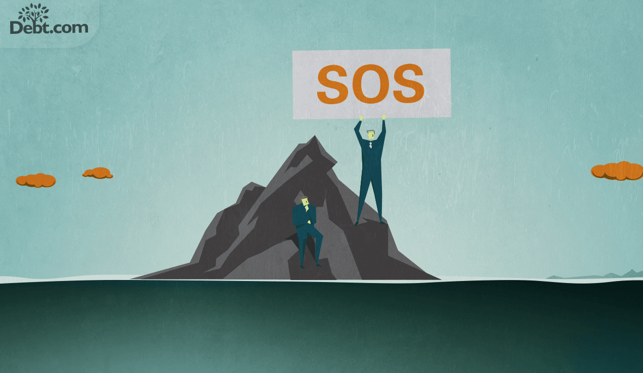 Two men stranded on an island, one is holding up an SOS sign