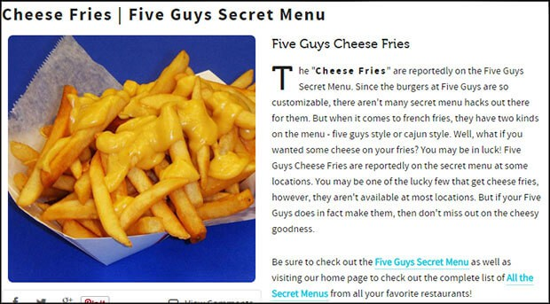 Cheese fries are not on the Five Guys secret menu