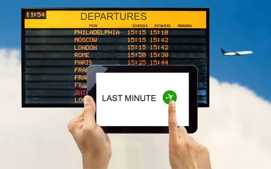 checking last-minute deals for flights and their departure times
