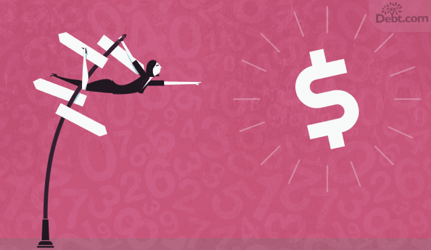 woman hanging from sign post, reaching for dollar sign (illustrated)