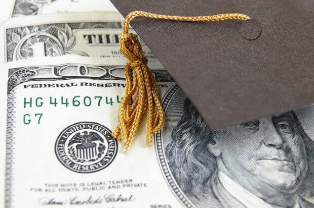 graduation cap and cash