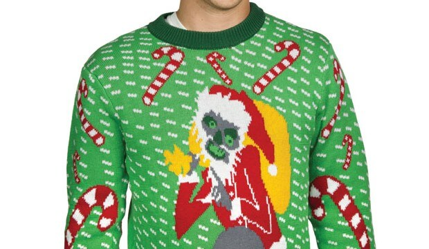 man wearing ugly Christmas sweater