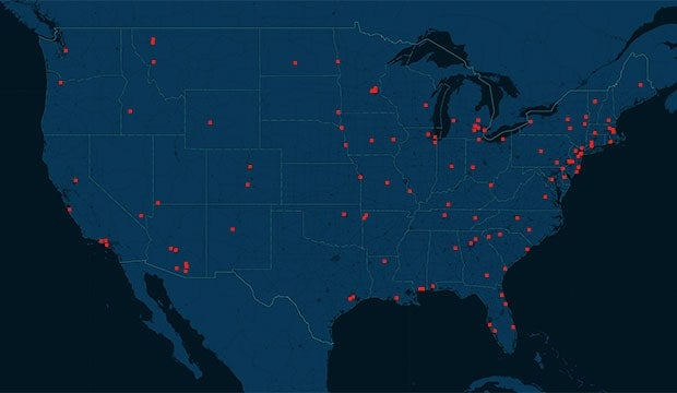 Credit card theft map
