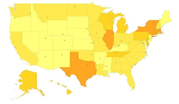 US map colored yellow