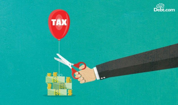 """red """"tax"""" balloon tied to a stack of money, a business man with scissors is cutting the string (illustrated)"""