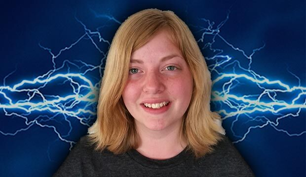 face of lady with lightning in background