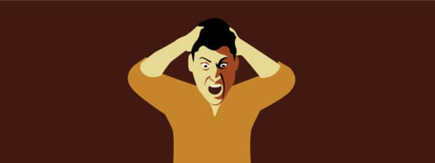 A man rages about Obamacare (illustration)