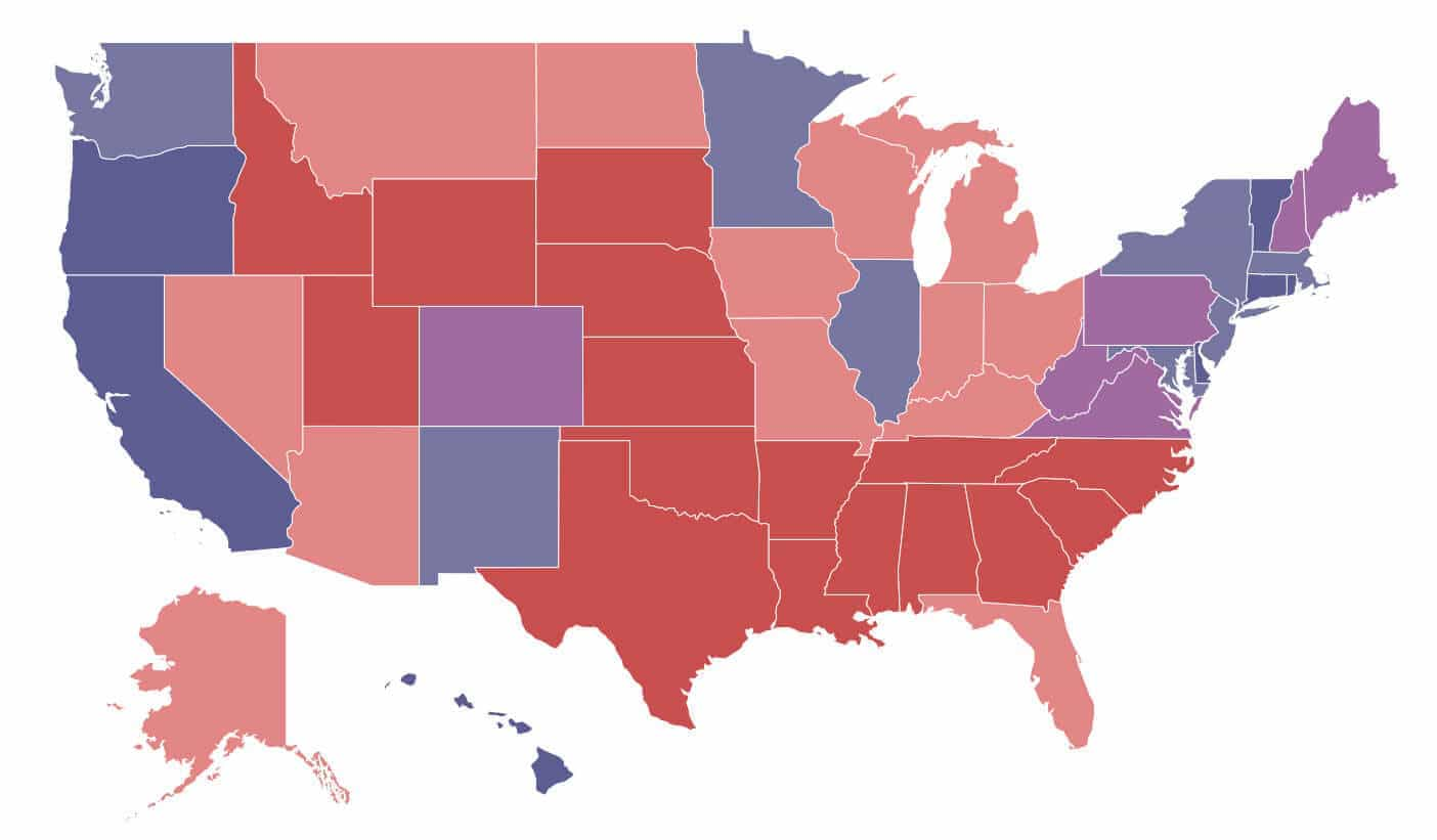 US map with different colors
