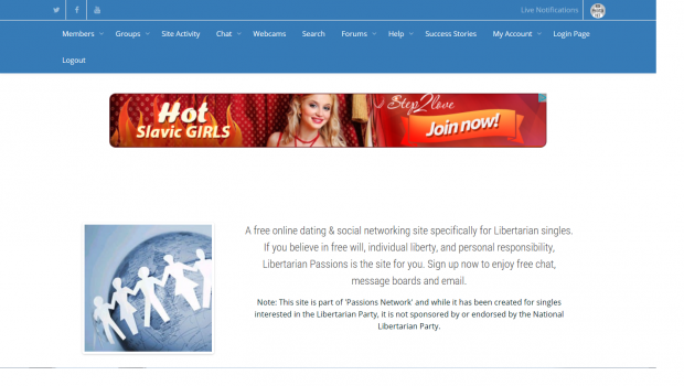 A screenshot of a libertarian dating site featuring an advertisement for Hot Slavic Girls