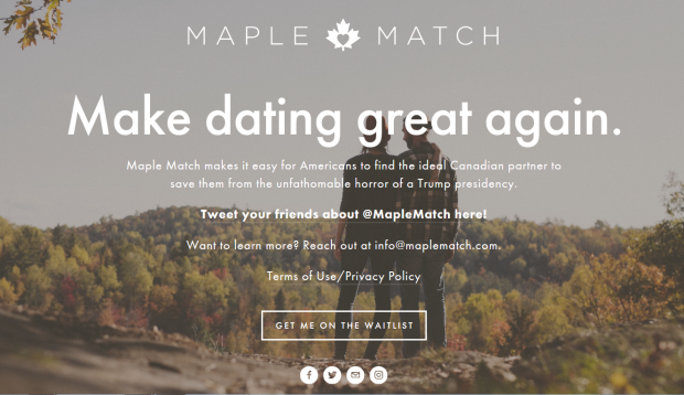 A screenshot from dating website Maple Match
