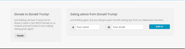 A screenshot of the Trump Singles website soliciting donations to someone who supports Donald Trump