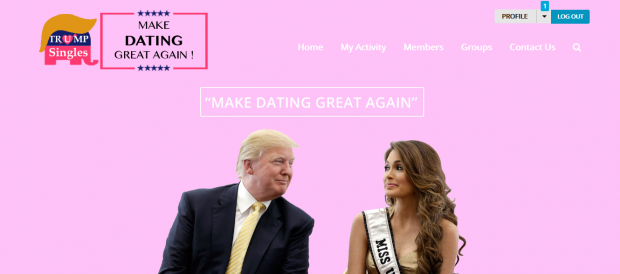 "A screenshot of another Trump Singles dating website that proclaims ""Make Dating Great Again"""