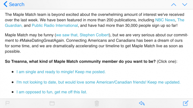 A screenshot of an email from Maple Match