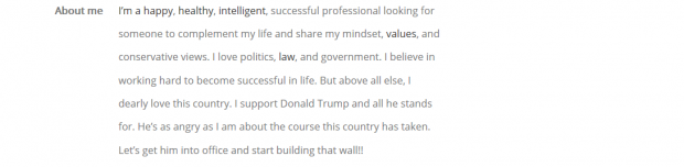 A screenshot of a Donald Trump supporter's dating profile