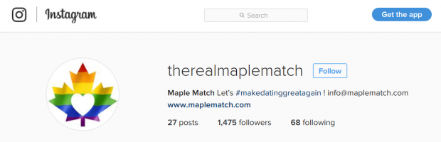 A screenshot of Maple Match's Instagram account
