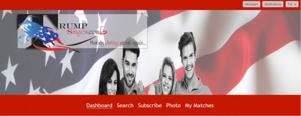 A screenshot of the Trump Singles dating website