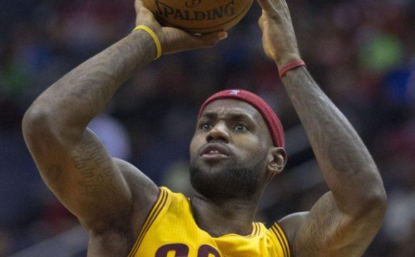 LeBron James shooting a ball