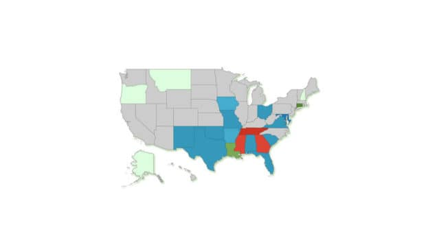 US map about tax