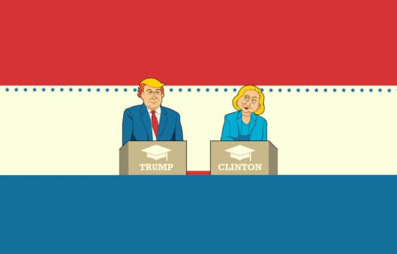 Donald Trump and Hillary Clinton stand at podiums debating each other's policies on student loans (illustrated)
