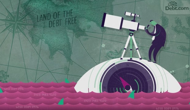cartoon of man looking into telescope in search of debt free land