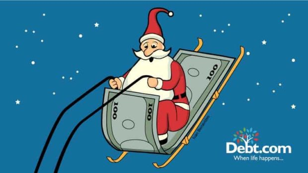 cartoon of Santa on $100 bill sleigh