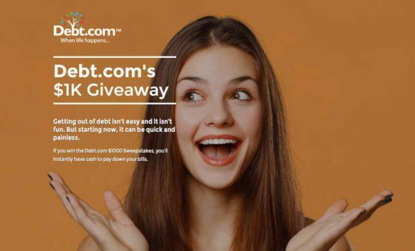 Debt.com $1,000 giveaway