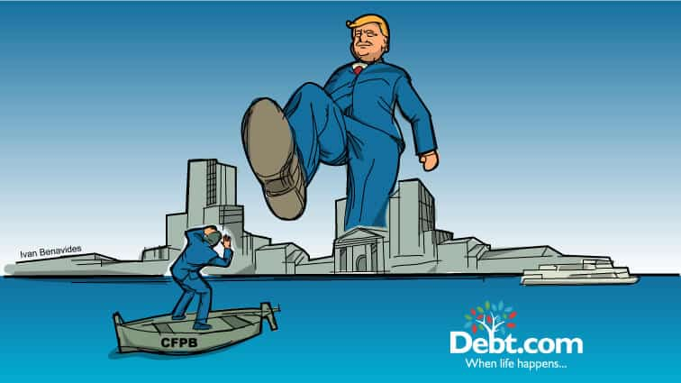 A giant Trump looms over the New York skyline with his foot about to crush the CFPB on a small boat (illustrated)