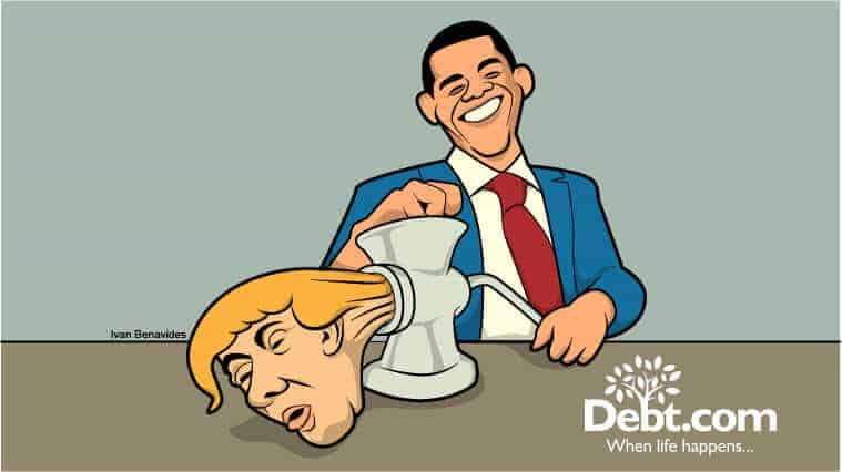 Barack Obama puts Donald Trump through a meat grinder (illustrated)