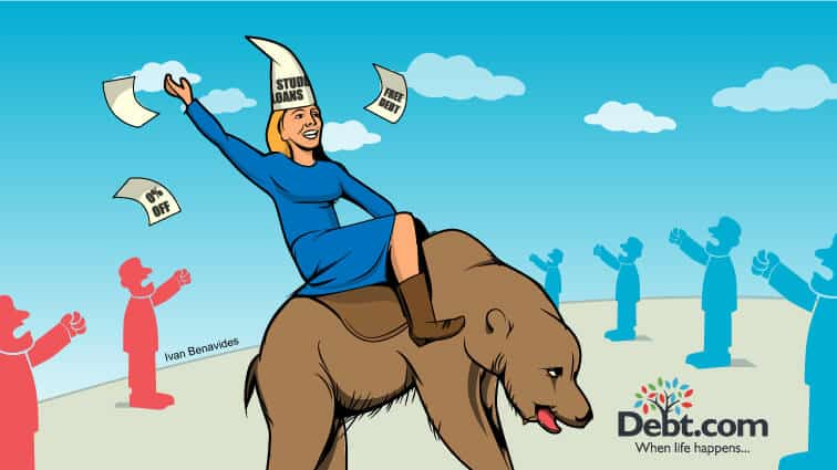 Betsy DeVos rides a bear and flings education vouchers everywhere (illustrated)