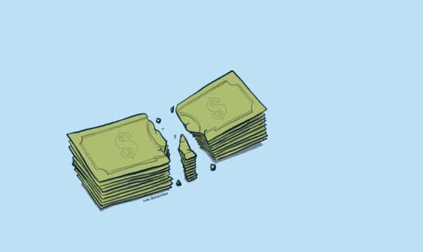 stack of cash broken in half (illustrated)