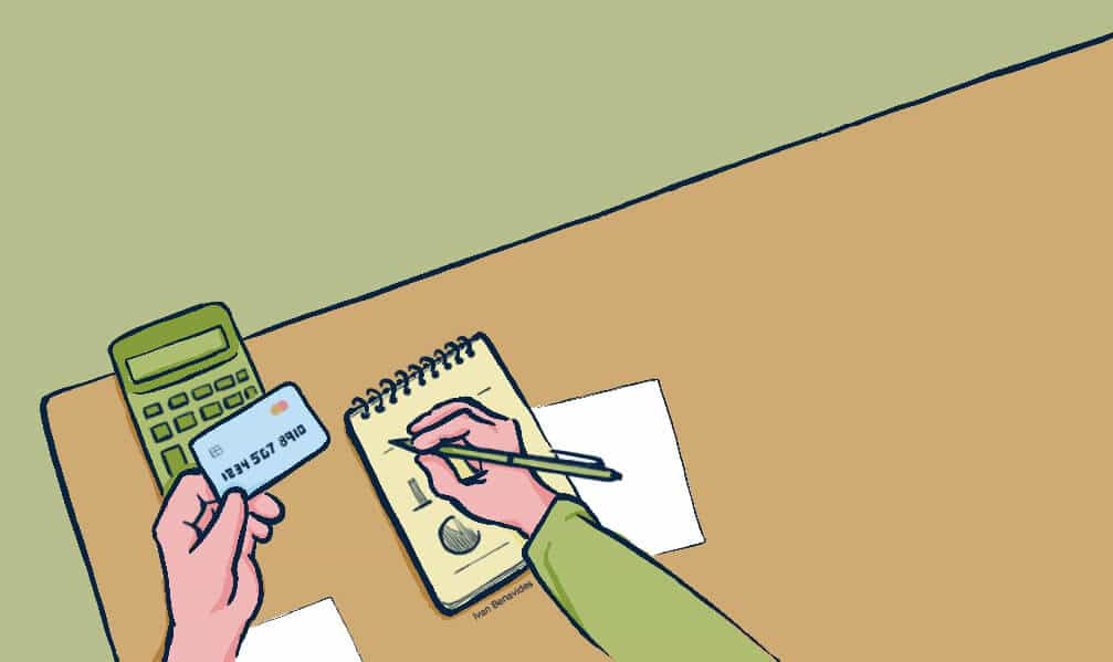 Debt.com illustration by Ivan Benavdies showing person mapping out a credit card debt management program