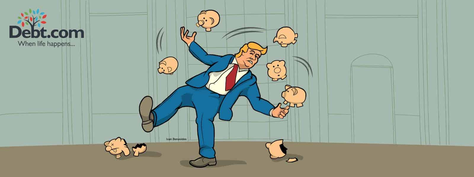 Donald Trump juggles piggy banks representing Social Security (illustrated)