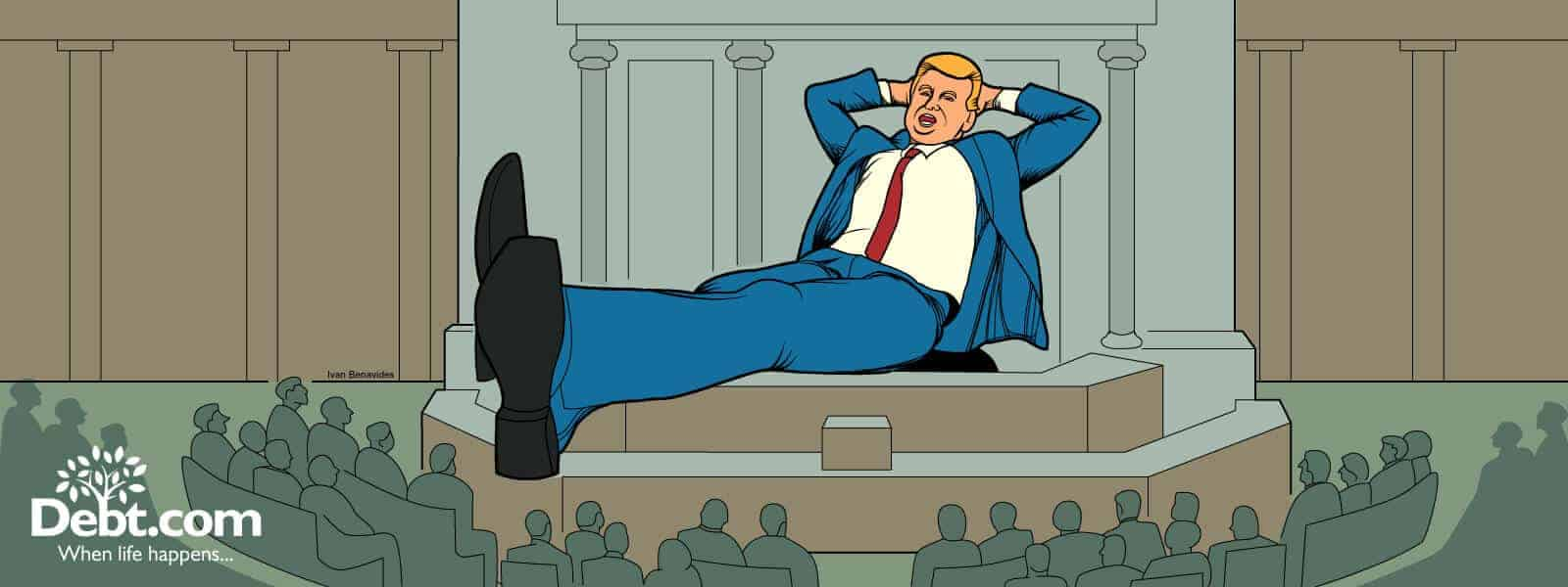 A giant Donald Trump lounges in a speech to Congress (illustrated)